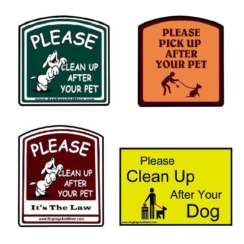 "Dog Poop ""Clean Up"" Signs"