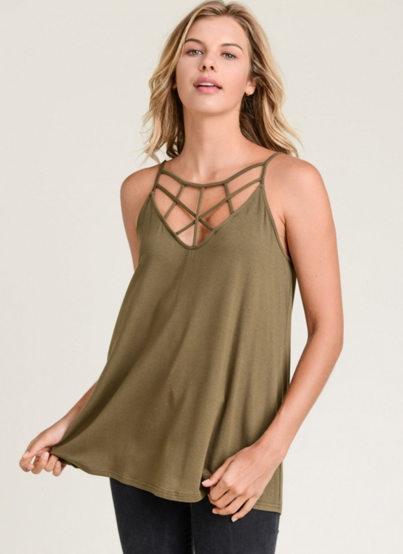 Cross Front Tank Olive - Flair and Company