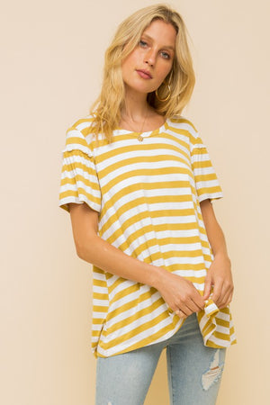 Chartreuse Striped Tee - Flair and Company