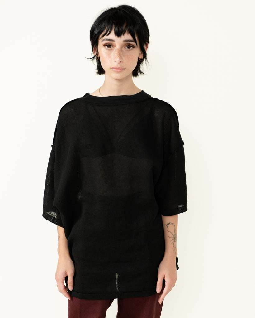 MESH 'PROPER CARE' SHIRT BLACK