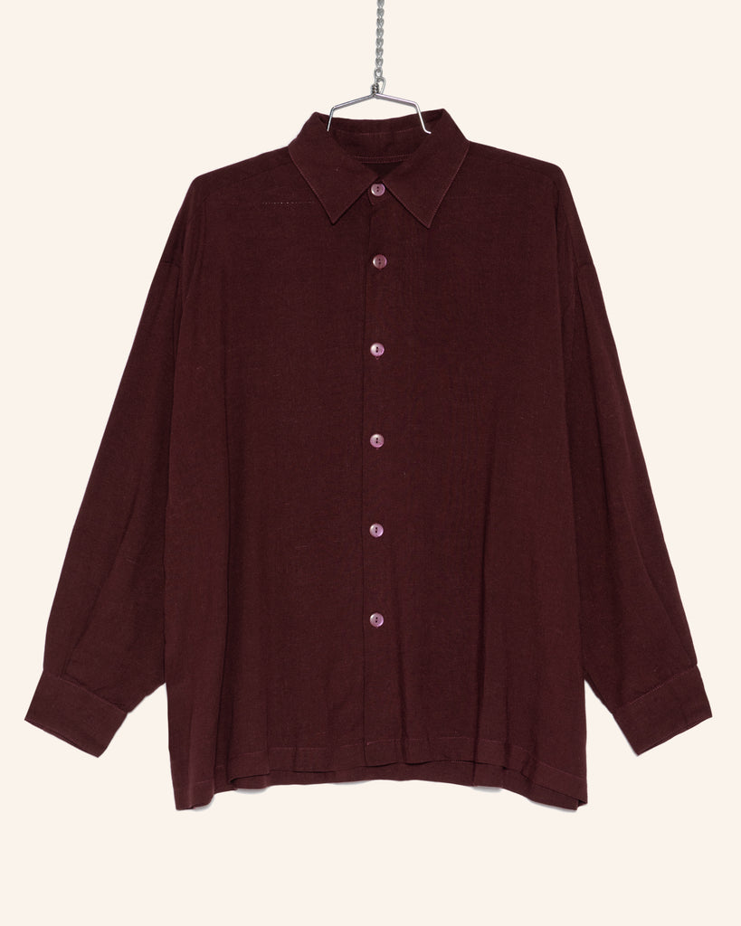 SLOUCH LINEN/RAYON BUTTON UP PLUM