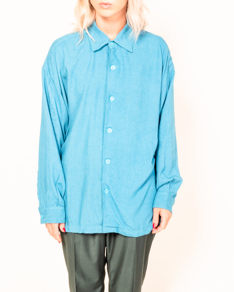 SLOUCH LINEN/RAYON BUTTON UP