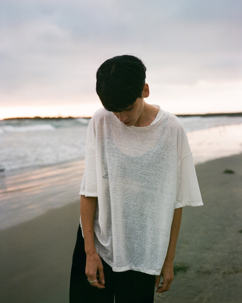 LINEN KNIT SHIRT CLOUD