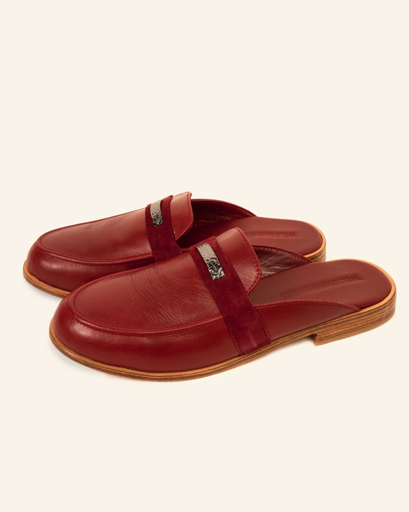 LEATHER SLIPPERS SCARLET