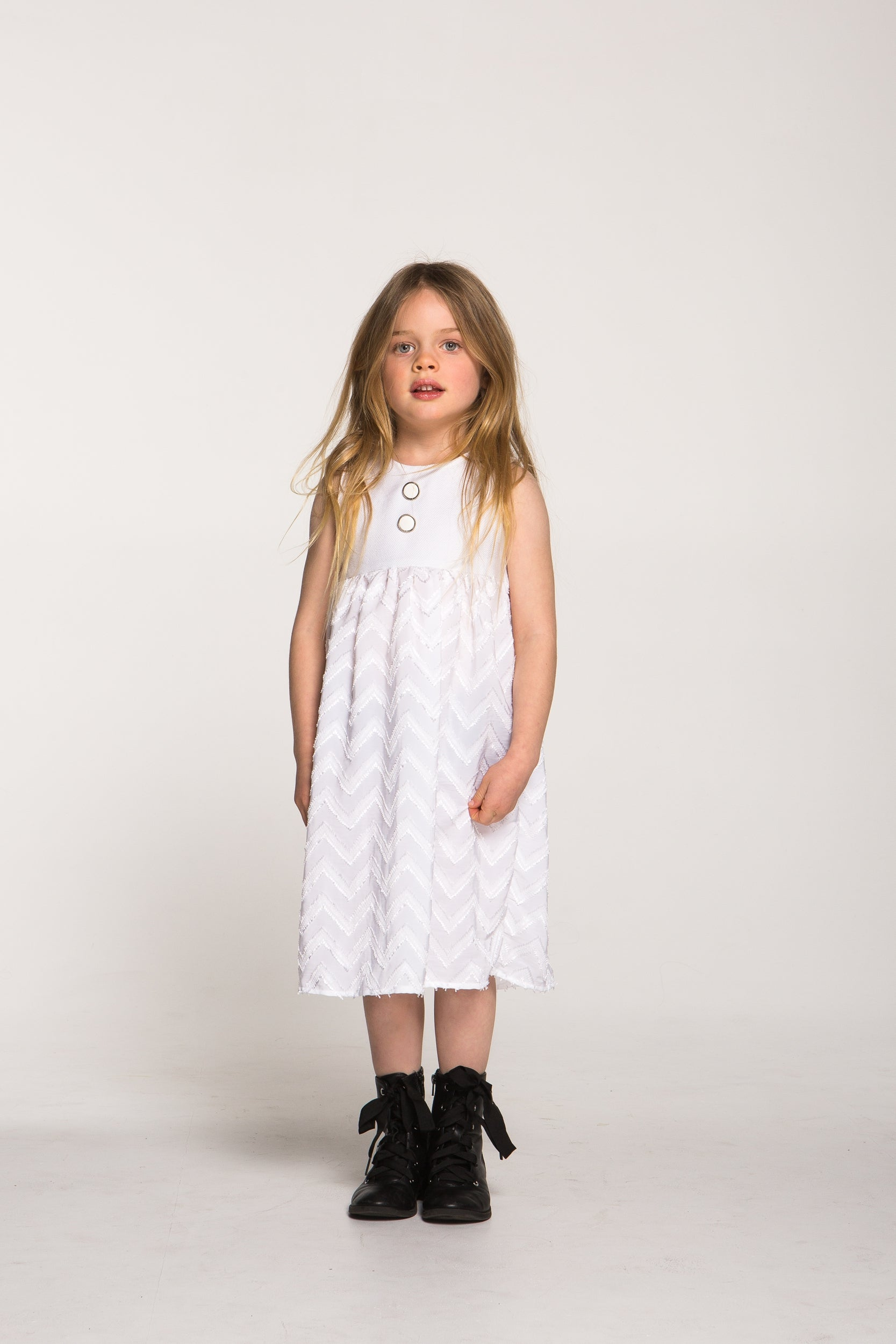 Girls Silky Chevron Maxi Dress