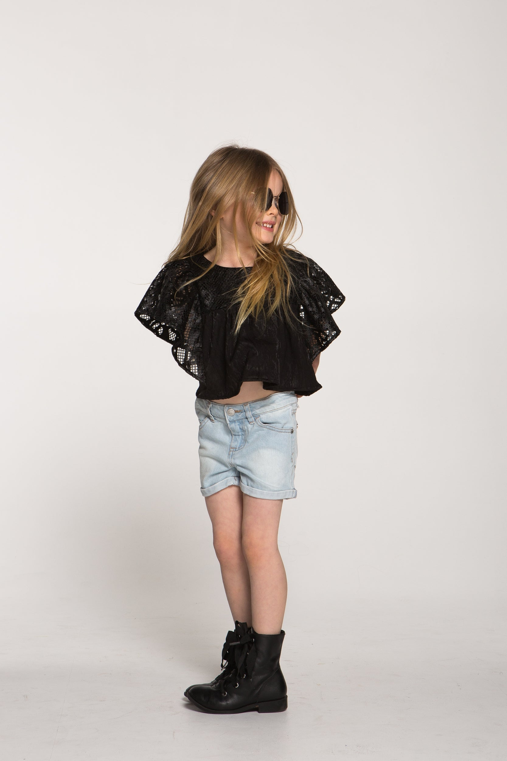 Girls Black Laser Cut Leather Top