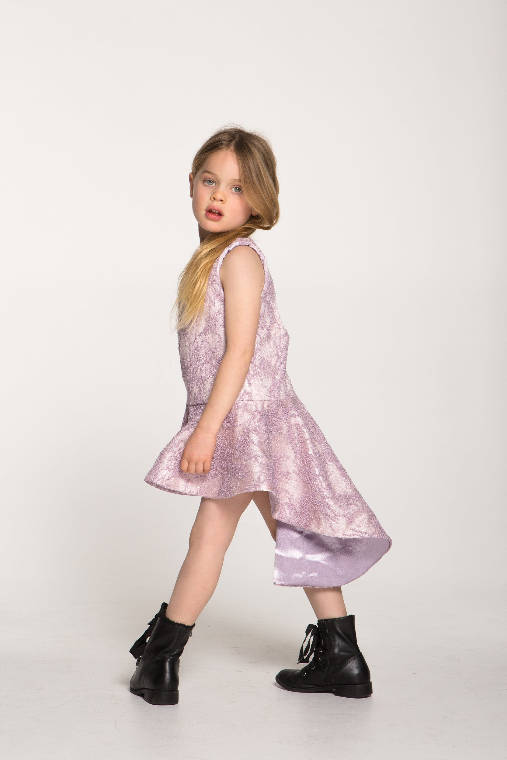 Girls Beaded Lace Purple and Pink Dress
