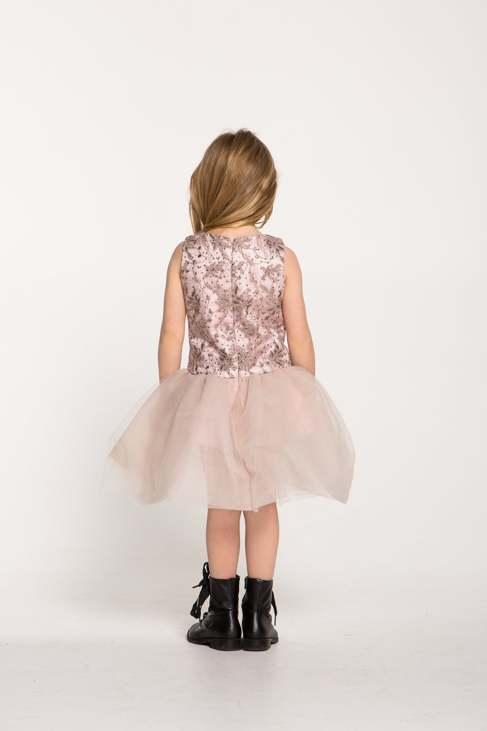 Make me Blush Girls Pink Lace Dress