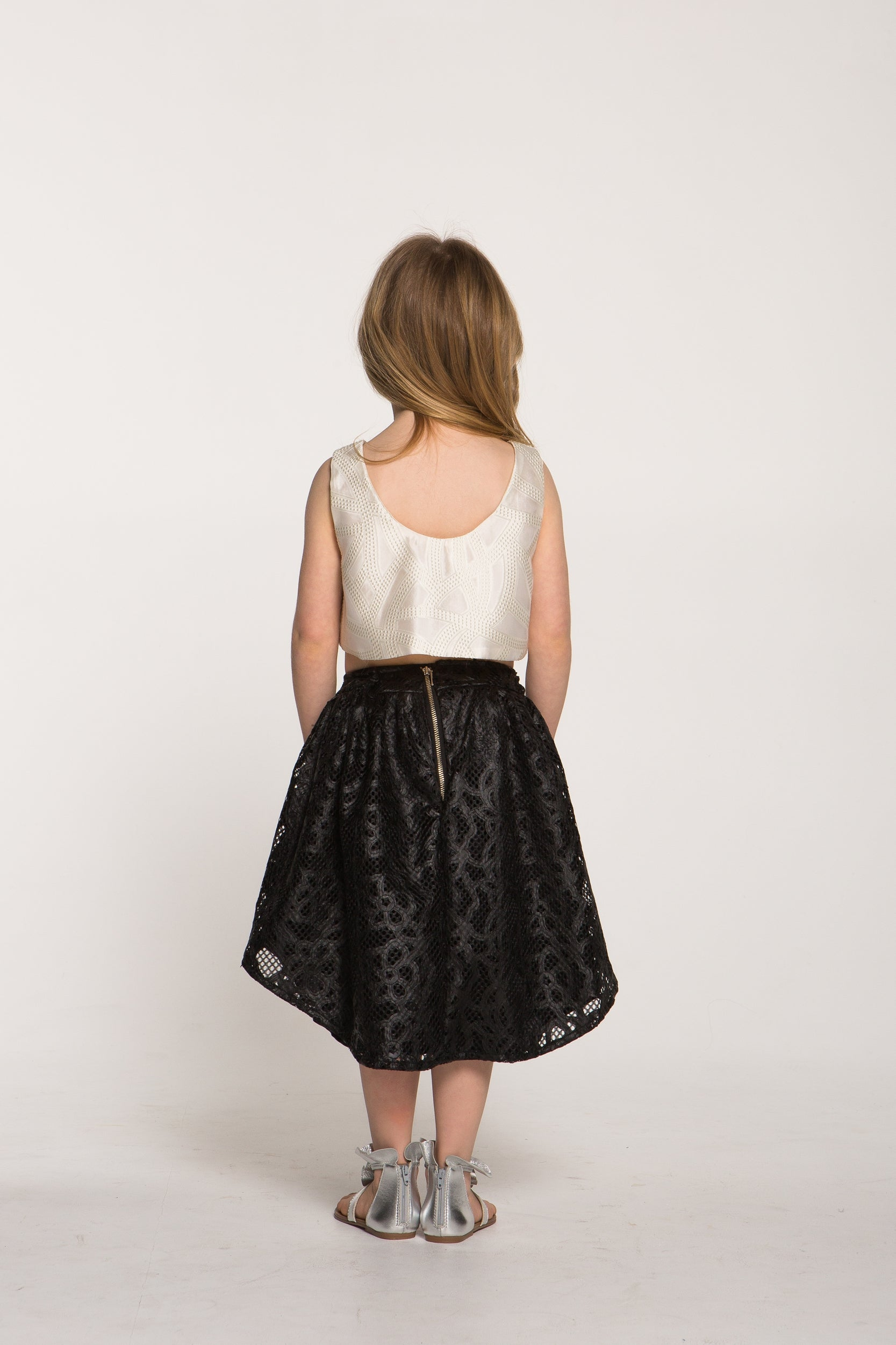 Girls Organza and Faux Leather Ensemble