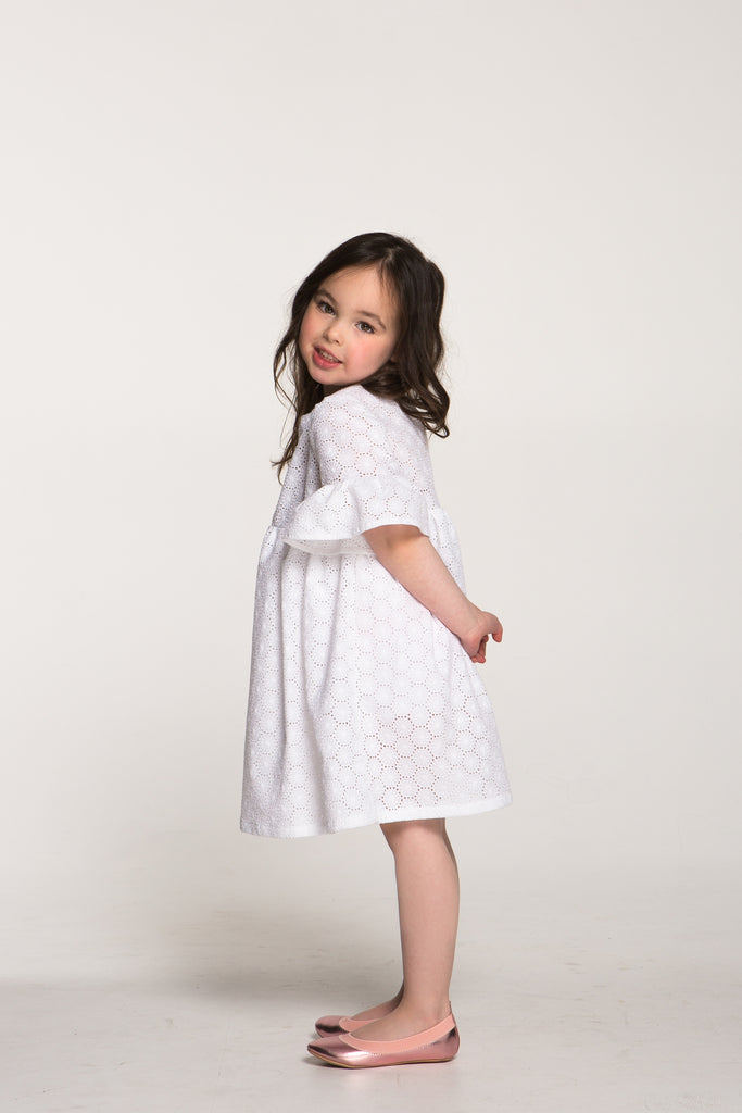 Girls Embroidered Cotton Lace Dress