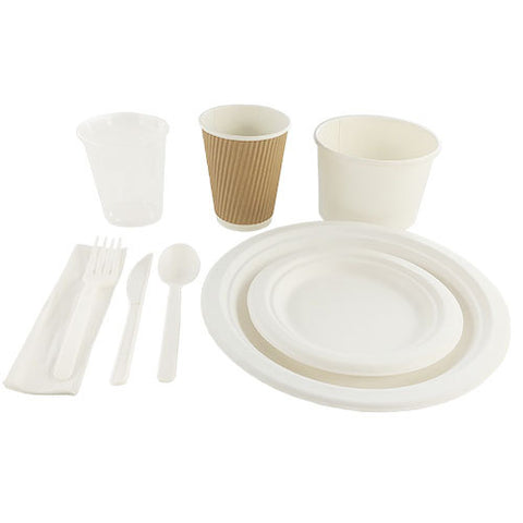 Service de table compostable pour 50 personnes | Compostable dishware set for 50 people