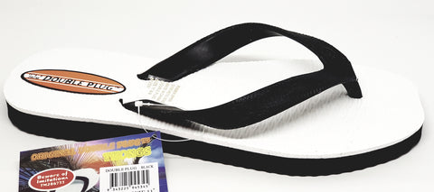 The Genuine Multi Plug, Double Plug Thongs Black/White