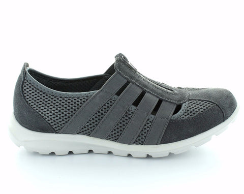 CC Resorts Christine Charcoal Casual Walking Shoes With Elastic & Zip Upper