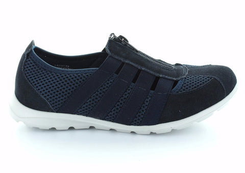 CC Resorts Christine Navy Casual Walking Shoes With Elastic & Zip Upper