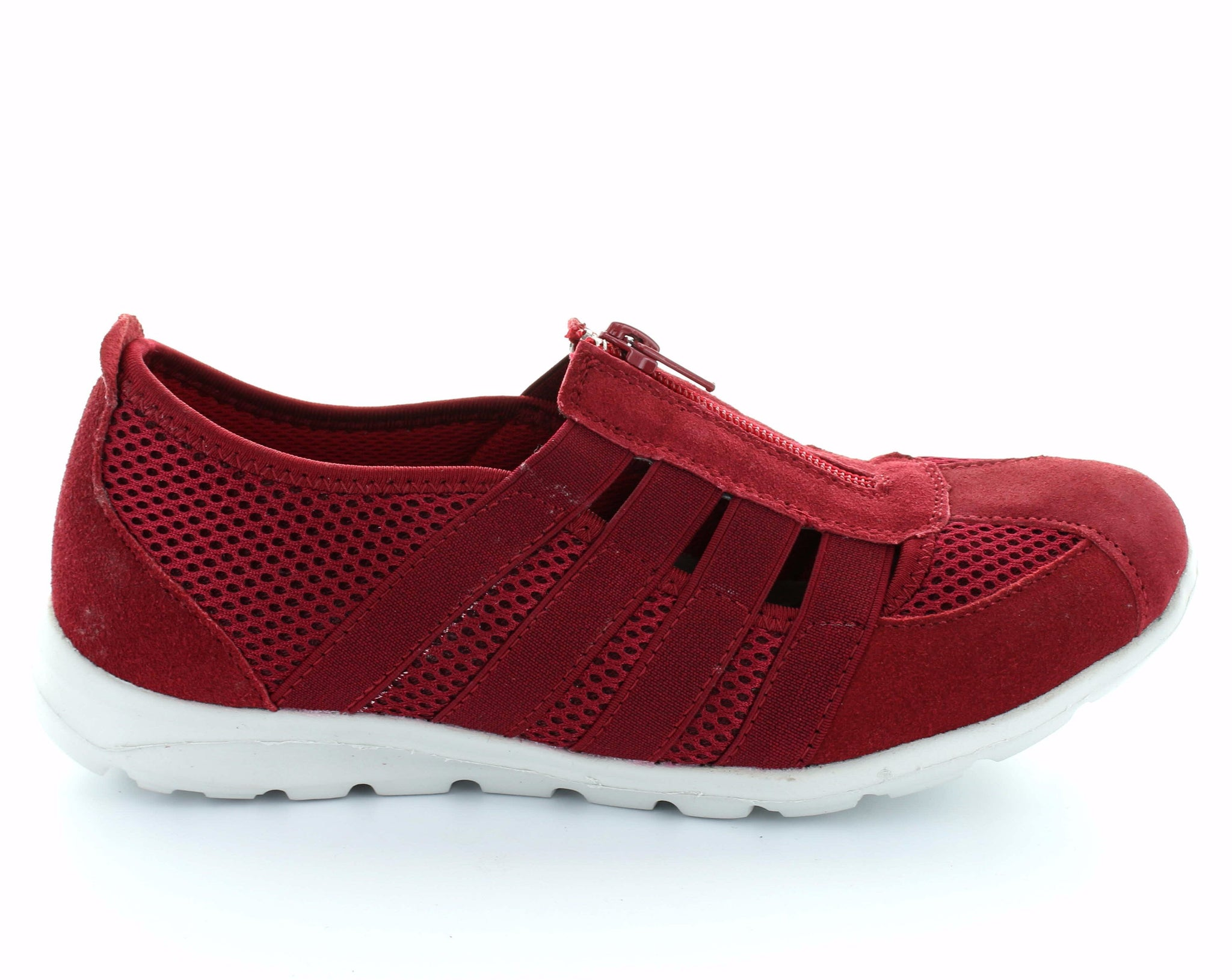 CC Resorts Christine Red Casual Walking Shoes With Elastic & Zip Upper
