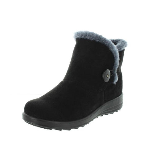 Panda Eugenia Black Womens Low Wedge Fur Lined Ankle Boot