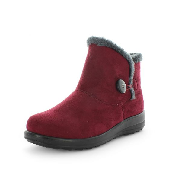 Panda Eugenia Burgundy Womens Low Wedge Fur Lined Ankle Boot