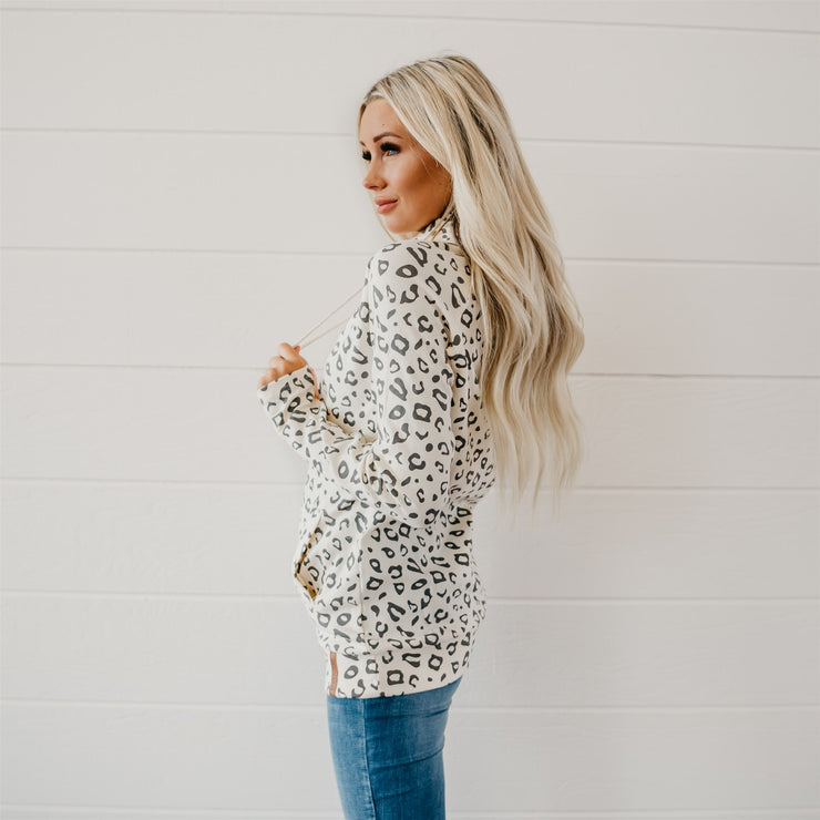 White Leopard Double Hooded Sweatshirt