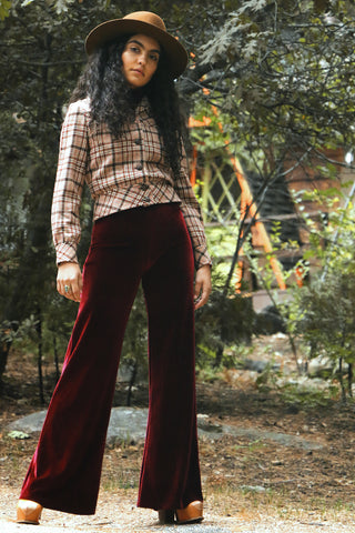 Wide Leg Flare Bell Bottoms Pants velvet