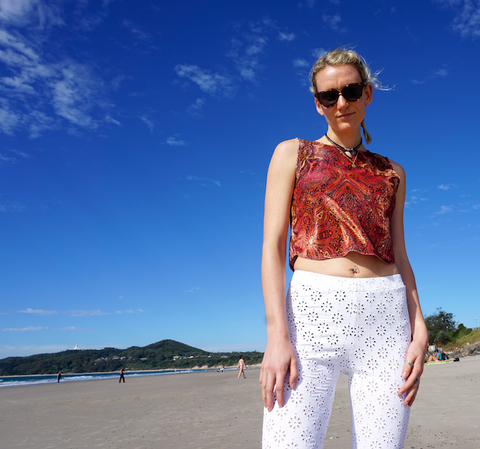 White Lace Flares and Velvet Top Byron Bay