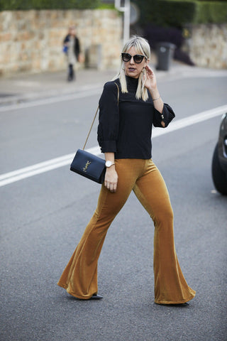 Leather and Lattes Gold Mustard Flares