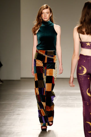 wide leg patchwork flares