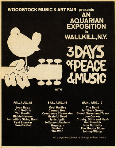 Woodstock Set Times and Band List Flare Street