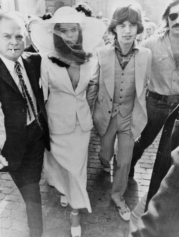 Bianca Jagger wedding outfit