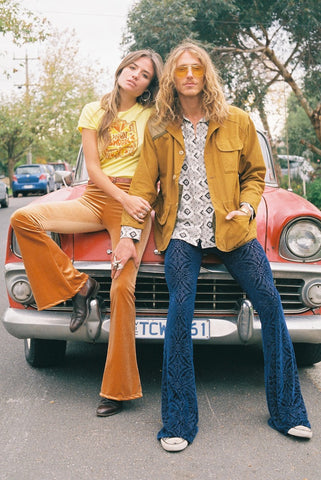70's velvet flares burnout and copper velvet