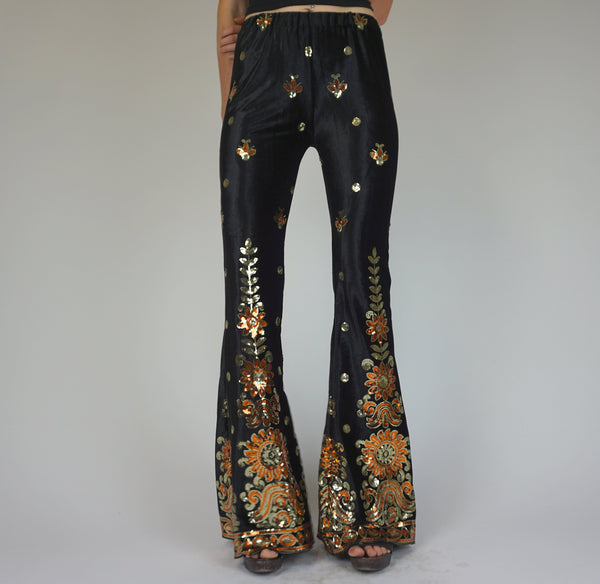 Phosphorescent Sequin Disco Flares - Black Velvet