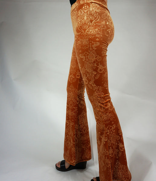 *Faerydae Flares - Copper Orange Velvet*
