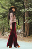 Plain Velvet Flares - Wide Leg Burgundy Plum Wine