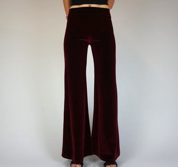 Burgundy Plum Wine Plain Velvet Flares - Wide Leg