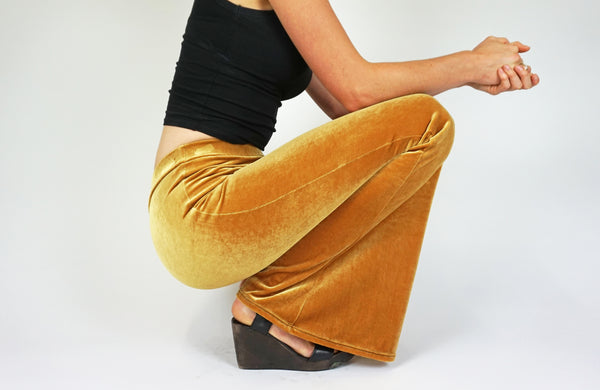 Dark Golden Mustard Plain Velvet Flares