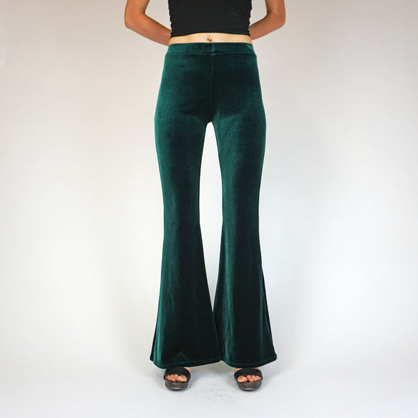 Bottle Green Plain Velvet Flares