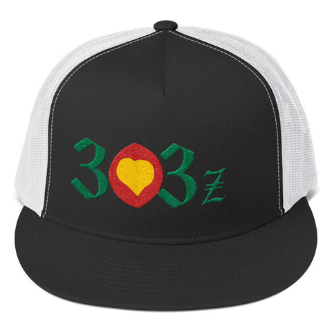 303zTreez Trucker Caps Black/ White City Love Trucker Cap