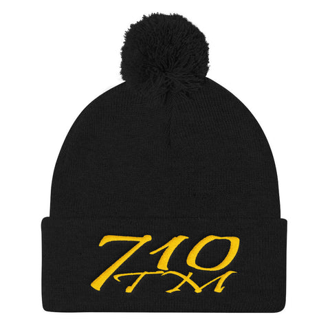 710tm Knit Caps Black 710tm Pom Pom Knit Cap