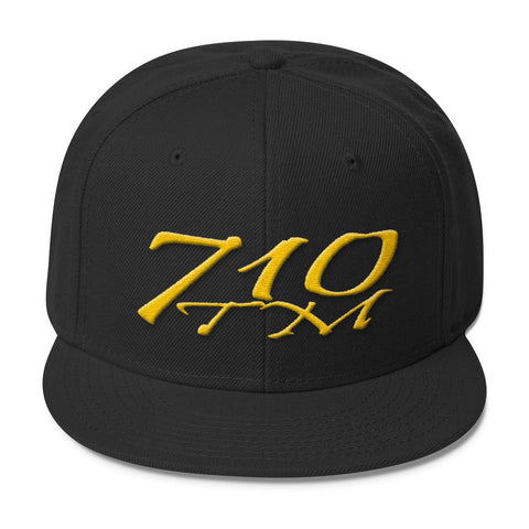 710tm Snapbacks Black 710 tm Logo Wool Blend Snapback