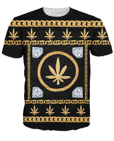 FreshlyBaked T-Shirts Gold Ganja Chains and Diamonds T-Shirt