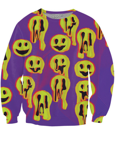 LetsRage Sweatshirts Acid Wax Smile Crewneck Sweatshirt