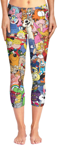 LetsRage Yoga Pants 80's Cartoon Collage Capri Yoga Pants