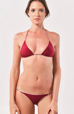 Blush/Burgundy Sliding Triangle Top x String Bottom
