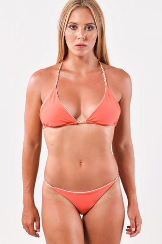 Coral/Pink Sliding Triangle Top x String Bottom