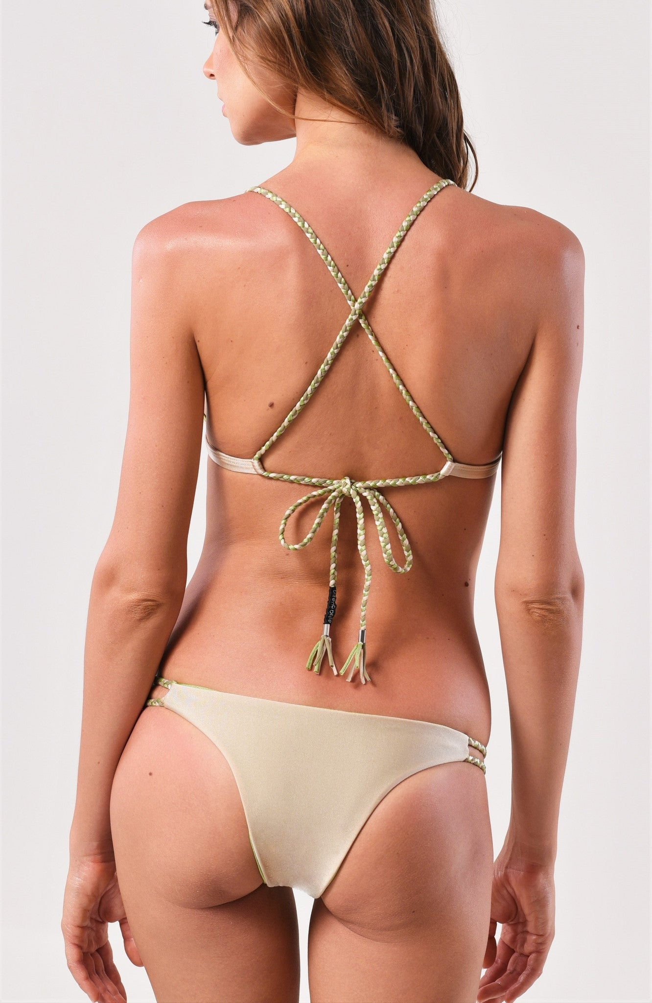 Nude/Pistachio Fixed Triangle Top x Cheeky Bottom