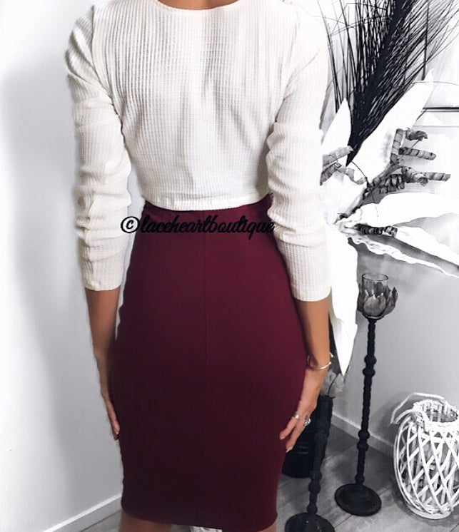 LAINA MIDI SKIRT BURGUNDY