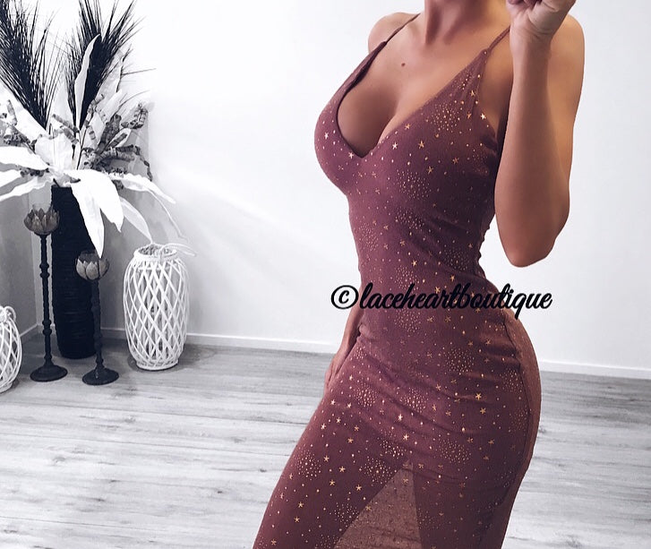 STARGAZE MESH DRESS PLUM