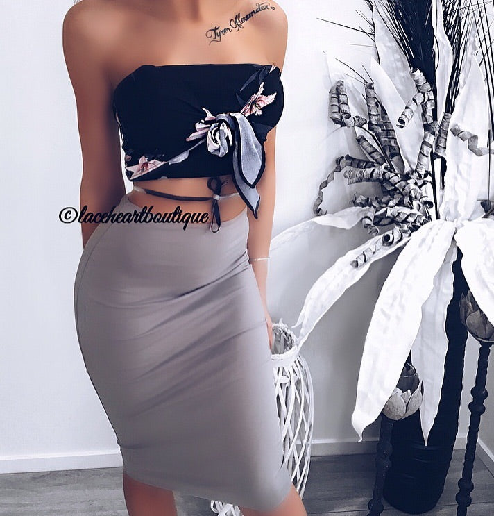 LAINA MIDI SKIRT STONE GREY