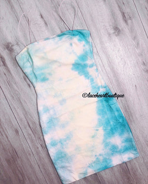 ISLA DRESS BLUE TIE DYE