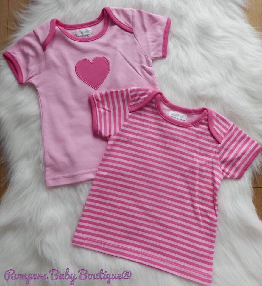 Girls Heart and Stripe Pack of Two T-Shirts