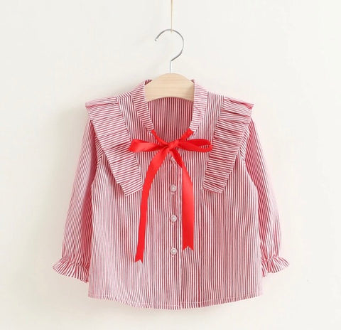 Red Stripe Bow Blouse